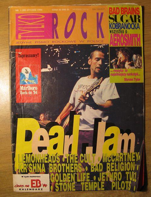 Okładka Tylko Rock - styczeń 1994