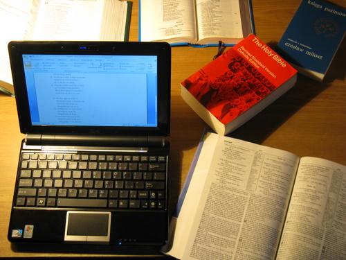 Netbook wśród książek