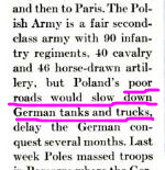 Poland's poor roads would slow down German tanks and trucks