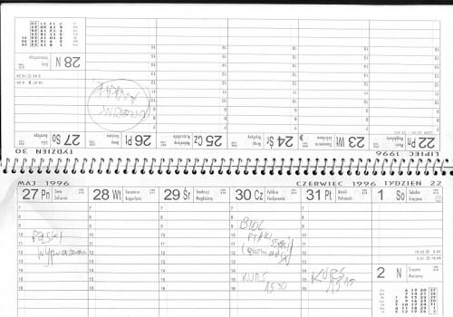 Dwie strony z kalendarza 1996 z paroma wpisami nt. kartkówek, wypracowań, kursu i urodzin Ani K.